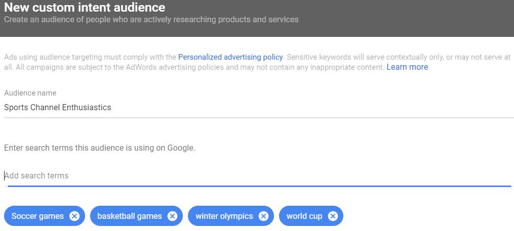 YouTube custom intent audiences